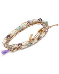 Lonna & Lilly | Metallic Gold-tone Beaded Purple Tassel Wrap Bracelet | Lyst
