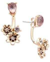 Lonna & Lilly - Metallic Gold-tone Stone And Flower Front And Back Earrings - Lyst
