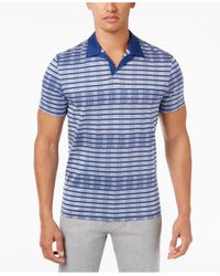 Alfani | Blue Men's Inverse-stripe Open-collar Polo for Men | Lyst