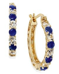 Macy's | Blue Midnight Sapphire (1-1/5 Ct. Tw.) And White Topaz (1-1/10 Ct. T.w.) Hoop Earrings In 18k Gold Over Sterling Silver, 23mm | Lyst