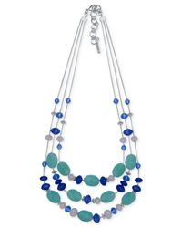 Nine West | Metallic Silver-tone Blue Bead Triple-row Necklace | Lyst