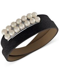 Majorica | Black Silver-tone Imitation Pearl Leather Wrap Bracelet | Lyst