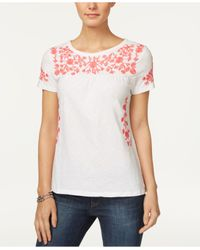 Charter Club - White Cotton Embroidered Top - Lyst