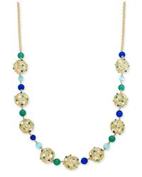 kate spade new york | Metallic Gold-tone Openwork Sphere And Beaded Long Statement Necklace | Lyst