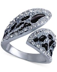 Guess - Metallic Crystal Animal-print Bypass Ring - Lyst