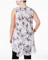Alfani - White Plus Size Printed High-low Tunic - Lyst