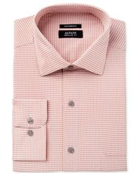 Alfani | Men's Fitted Performance Orange Fine Gingham Dress Shirt for Men | Lyst