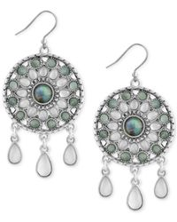 Lucky Brand | Metallic Silver-tone Blue & Clear Stone Circular Drop Earrings | Lyst