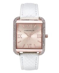 Charter Club - Pink Women's Rose Gold-tone White Faux Leather Bracelet Watch 32mm - Lyst