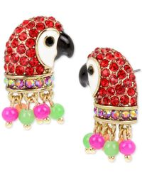 Betsey Johnson - Metallic Gold-tone Pavé & Bead Parrot Stud Earrings - Lyst