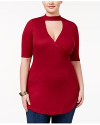 Almost Famous | Red Trendy Plus Size Mock-neck Cutout Top | Lyst
