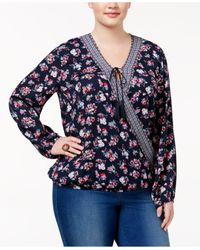 Almost Famous | Blue Trendy Plus Size Blouson Peasant Blouse | Lyst