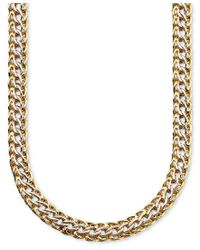 Macy's Metallic 14k Gold Over Sterling Silver And Sterling Silver Necklace, Mesh