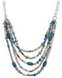 Nine West | Blue Silver-tone Multi-row Beaded Collar Necklace | Lyst