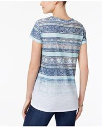 Style & Co. - Blue Faded Stripe-pattern T-shirt - Lyst