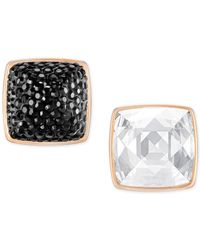 Swarovski - Metallic Rose Gold-tone Black And Clear Crystal Front-back Earrings - Lyst