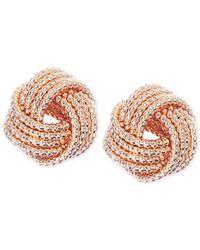 Nine West - Metallic Gold-tone Knot Stud Earrings - Lyst