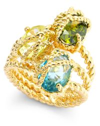 Charter Club - Blue Gold-tone Three Stone-wrapped Twisted Ring - Lyst