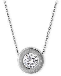 """Michael Kors - Metallic 16"""" Bezel Set Crystal Logo Pendant Necklace - Lyst"""