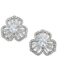 Carolee - Metallic Silver-tone Crystal Cluster Flower Stud Earrings - Lyst