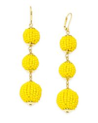 INC International Concepts | Yellow Gold-tone Colored Bead Triple Drop Earrings | Lyst