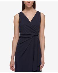 DKNY Blue V-neck Draped Jersey Dress