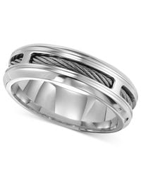 Triton | Metallic Men's Stainless Steel Ring, Comfort Fit Cable Wedding Band for Men | Lyst