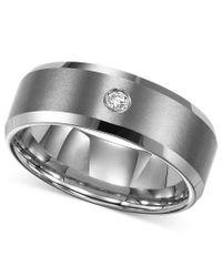 Triton | Metallic Men's Tungsten Carbide Ring, Single Diamond Accent Wedding Band for Men | Lyst