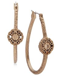 Lonna & Lilly | Metallic Gold-tone Lace Disk Hoop Earrings | Lyst