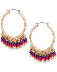 INC International Concepts - Metallic Gold-tone Bead Hoop Earrings - Lyst