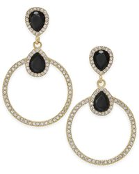INC International Concepts - Black Gold-tone Pavé & Jet Stone Drop Earrings - Lyst