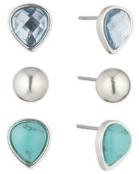 Nine West | Silver-tone 3 Pc. Set Blue Stone Stud Earrings | Lyst