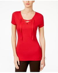 INC International Concepts - Red Lace-up T-shirt - Lyst