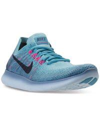 Nike | Blue Women's Free Run Flyknit 2017 Running Sneakers From Finish Line | Lyst