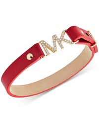 Michael Kors - Red Gold-tone Pavé Logo Leather Snap Bracelet - Lyst