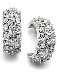 Lauren by Ralph Lauren | Gray Silver-tone Crystal Accent Hoop Earrings | Lyst