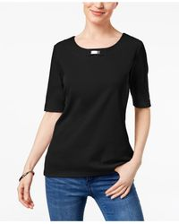Karen Scott Black Cotton Embellished T-shirt, Created For Macy's