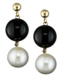 Macy's | Black Cultured Freshwater Pearl (8-1/2mm) And Onyx (10mm) Drop Earrings In 14k Gold | Lyst