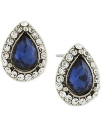 2028 - Metallic Silver-tone Stone & Pavé Stud Earrings - Lyst