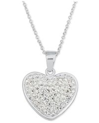 Macy's - Metallic Crystal Pavé Heart Pendant Necklace In Fine Silver-plate - Lyst