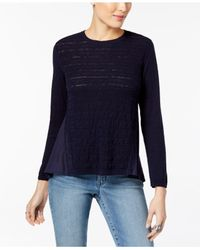Style & Co. Blue Petite Cotton Pointelle-knit High-low Sweater