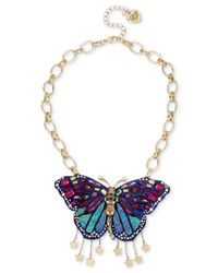 Betsey Johnson | Multicolor Gold-tone Stone & Crystal Butterfly Pendant Necklace | Lyst