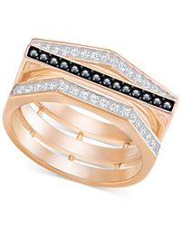 Swarovski | Metallic Rose Gold-tone Clear & Black Pavé Ring | Lyst
