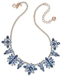 Kate Spade - Blue 14k Rose Gold-plated Crystal Collar Necklace - Lyst