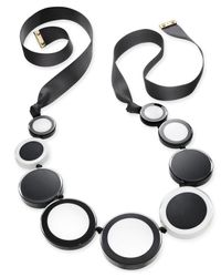 Kate Spade - Gold-tone Colored Circles Black Ribbon Statement Necklace - Lyst