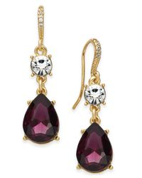 Charter Club - Purple Clear & Colored Crystal Drop Earrings - Lyst