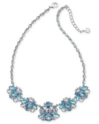 Charter Club | Silver-tone Blue & Clear Crystal Statement Necklace, | Lyst