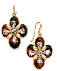 Charter Club | Metallic Gold-tone Crystal & Tortoise-look Drop Earrings | Lyst