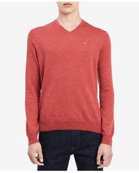 CALVIN KLEIN 205W39NYC - Pink Men's Solid V-neck Sweater for Men - Lyst