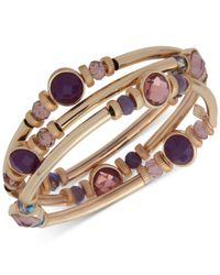 Nine West - Purple Gold-tone 3-pc. Set Stone & Crystal Bangle Bracelets - Lyst